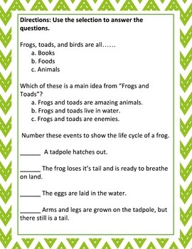 Frogs and Toads: Nonfiction Passage and Comprehension Questions