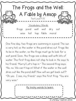 Frogs and the Well Fable: CCSS Aligned Leveled Reading Passages and Activities