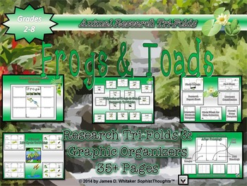 Frogs and Toads Research & Life Cycle Tri-Folds & Graphic Organizers
