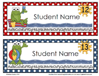 Frogs at the Beach Editable Name Tags