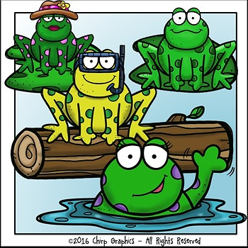 Five Green and Speckled Frogs Clip Art Set - Chirp Graphics