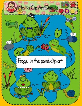 Frogs in the pond clip art
