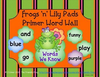 Frogs 'n' Lily Pads Primer Word Wall