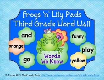 Frogs 'n' Lily Pads Third Grade Word Wall