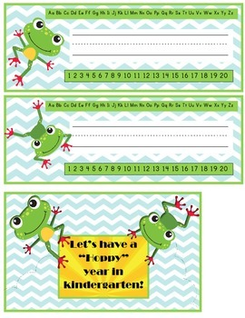 Frogs name plates and postcards
