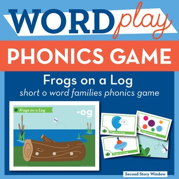 Frogs on a Log Short O Word Families Phonics Game - Words Their Way Game