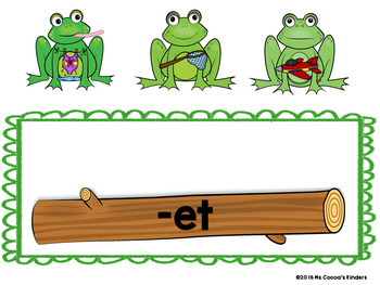 Short Vowel Word Families - Frogs on a Log