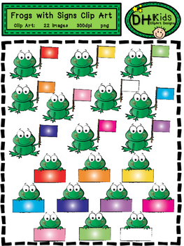 Frogs with Signs Clip Art - Personal and Commercial Use