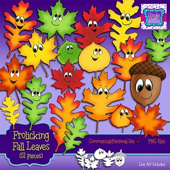 Fall Leaves and Acorn with Faces Clipart
