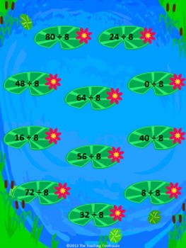 Frolicking Frogs Dividing by 8 File Folder Game ~ Division Activity/Center