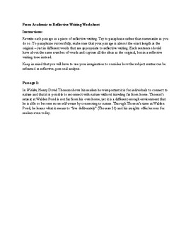 From Academic to Reflective Writing Worksheet