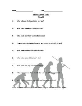 From Ape to Man Comprehension Questions