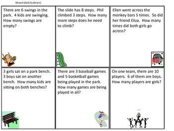 From Apples to Bananas:  Math Story Problem Cards