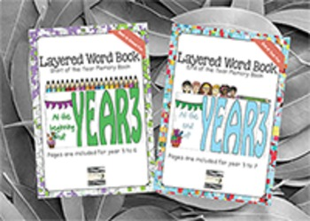 From Beginning to End of School Layered Word Book Bundle - Year 3 to 6