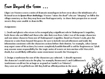 """From Beyond the Grave"", an Activity for Hamlet, Macbeth, or Romeo & Juliet"