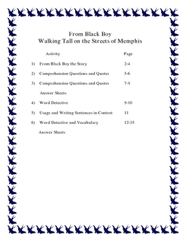 Black History Month-From Black Boy by Richard Wright Activity Packet