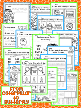 Distance Learning From Caterpillar to Butterfly Kindergarten NO PREP Printables