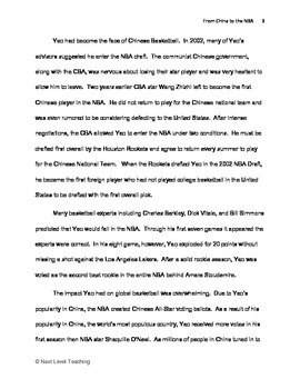From China to the NBA (Yao Ming) Reading Passage w/ questions