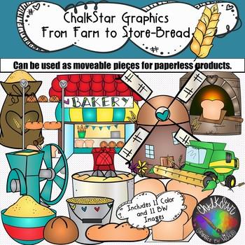 Farm to Table- Wheat Harvesting Bread Production Clip Art- Chalkstar Graphics
