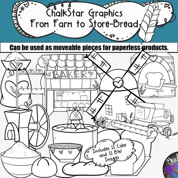 Farm to Table- Wheat Harvesting Bread Production Clip Art- Chalkstar Graphics