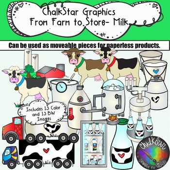 Farm to Table- Dairy Milk Production Clip Art- Chalkstar Graphics