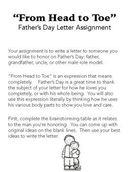 From Head to Toe: Father's Day Letter