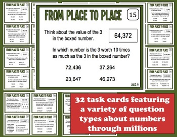 From Place to Place place value relationships task cards + printables (set a)