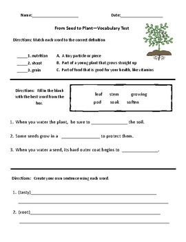 From Seed to Plant Comprehension & Vocabulary Test - Journeys