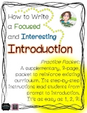 How to Write an Introduction - Practice Packet