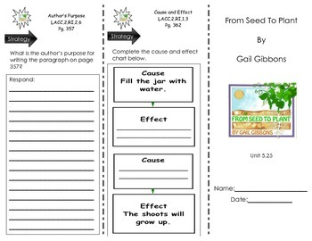 From Seed To plant by Gail Gibbons - Journeys Common Core- Houghton Mifflin