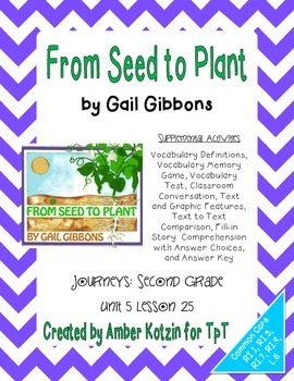 From Seed to Plant Activities 2nd Grade Journeys Unit 5, L