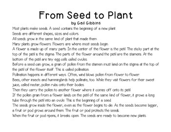 From Seed to Plant Close Reading