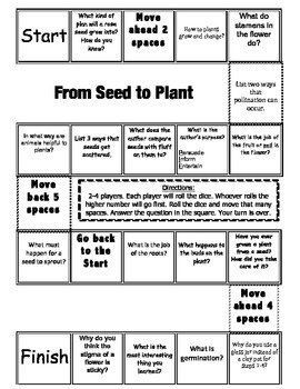 """From Seed to Plant"" Comprehension Game Board"