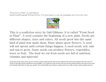 """""""From Seed to Plant"""" Handwriting/Story summary"""