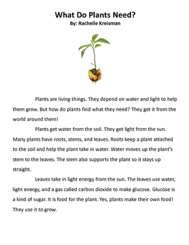 From Seed to Plant Journeys Reading Comprehension Test