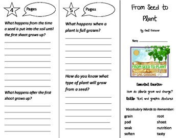 From Seed to Plant Trifold - Journeys 2nd Gr U 5 Wk 5 (2014, 2017 Common Core)