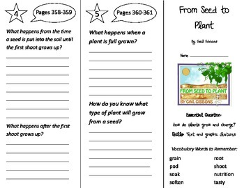 From Seed to Plant Trifold - Journeys 2nd Gr U 5 Wk 5 (201