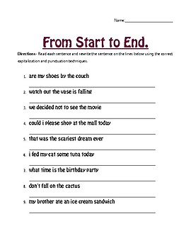 from start to end capitalization and punctuation worksheet by fern and flower. Black Bedroom Furniture Sets. Home Design Ideas