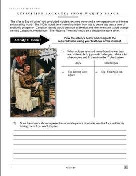 From War to Peace - Canada and the Roaring Twenties - Activities Package