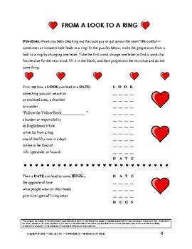Valentine's Activities: Vocabulary Centering on Love (3 Pages, Ans. Key, Gr. 6+)