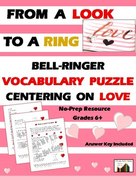 Vocabulary Activities Centering on Love (2 Pages, Ans. Key