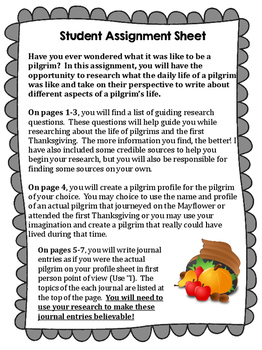 From a Pilgrim's Perspective Writing Activity