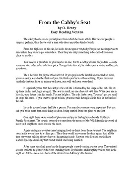 From the Cabby's Seat - O'Henry Short Story - Easy Reading Version + Quiz