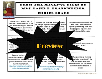 From the Mixed-Up Files of Mrs. Basil E. Frankweiler Choice Board Novel Project