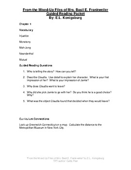 From the Mixed Up Files of Mrs. Basil E. Frankweiler Guided Reading Packet