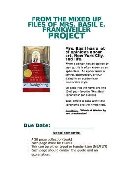 From the Mixed Up Files of Mrs. Basil E. Frankweiler (Project)
