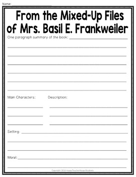 From the Mixed-Up Files of Mrs. Basil E. Frankweiler Project: Movie Poster
