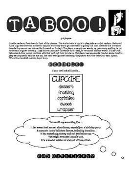 From the Mixed-Up Files of Mrs. Basil E Frankweiler Taboo! A fun review game