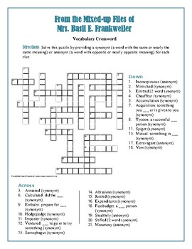 From the Mixed-Up Files of Mrs. Basil E. Frankweiler: Vocab Crossword