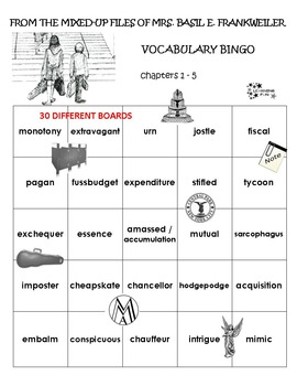 From the Mixed Up Files of Mrs. Basil E. Frankweiler Vocabulary Bingo